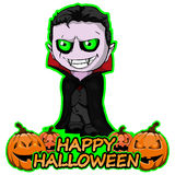 Count Dracula wishes Happy Halloween on an isolated white. Vector illustration Count Dracula wishes Happy Halloween on an isolated white backgraund royalty free illustration