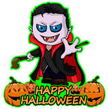 Count Dracula wishes Happy Halloween on an isolated white background. Vector illustration Count Dracula wishes Happy Halloween on an isolated white background Stock Photo