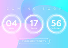 Vector Illustration of Countdown Timer. Digital Clock Design on. Blue Abstract Fluid Background. Futuristic Counter for Website, Interface, Wallpaper Royalty Free Stock Photography