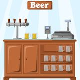 Vector illustration of a counter with beer on the part of the seller with a system of supplying several kinds of beer, a cashless. Terminal and a cash register Stock Image