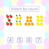Vector illustration. counting game for preschool children. royalty free illustration