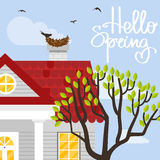 Vector illustration with country house in flat style royalty free illustration