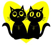Black cats. Vector illustration of couple black cats with fish bone pendants afainst heart shape moon. Love story cats Stock Image