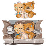 Vector illustration of a couple of brown teddy bears sitting in the cinema hall and watching a movie Royalty Free Stock Photos