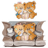 Vector illustration of a couple of brown teddy bears sitting in the cinema hall and watching a movie Royalty Free Stock Images