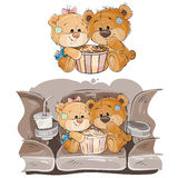 Vector illustration of a couple of brown teddy bears sitting in the cinema hall and watching a movie. Print, template, design element Royalty Free Stock Photo