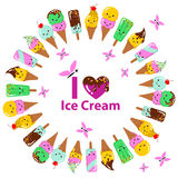 Vector illustration of a couple cartoon funny ice creams with happy smiling faces Stock Image