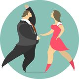 Vector Illustration Of A Couple Dancing In A Circle Emblem Royalty Free Stock Photo