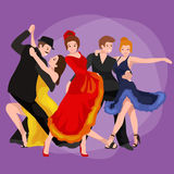 Vector illustration of couple dancing modern dance Royalty Free Stock Photos