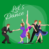 Vector illustration of couple dancing modern dance, Partners dance bachata, Dancing style design concept set Stock Images