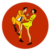 Vector illustration of a couple dancing swing, twist or lindy hop stock illustration