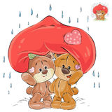 Vector illustration of a couple of enamored brown teddy bears hid from the rain under a big red hear Royalty Free Stock Image