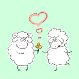Vector illustration couple of hand drawn cartoon sheep characters in romantic situation Royalty Free Stock Photos