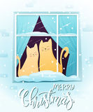Vector illustration of couple hand drawn cats, sitting on window with greeting lettering phrase - merry christmas Royalty Free Stock Photos