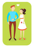 Vector illustration/ Couple in love. Vector illustration eps10/ caucasian man and asian woman in love Stock Photos