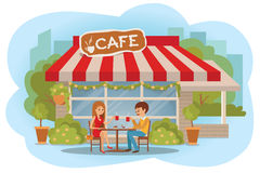 Vector illustration of couple in love having a romantic date at the cafe outdoor. Flat modern illustration. Stock Photo