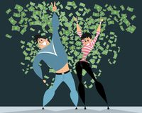 Couple in rain of money. Vector illustration of couple in the rain of money Stock Images