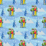 Vector illustration of couple young people man and woman in a flat design on mountain background. Seamless pattern. Royalty Free Stock Photo