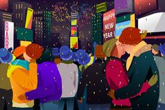Couples Kissing During New Year Celebration Illustration Royalty Free Stock Image