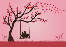 Vector illustration of couples are swinging under Love tree with paper art style for valentine festival. Vector illustration of lovers are swinging under Love Royalty Free Stock Images