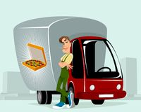 Courier delivering the pizzas. Vector illustration of a courier delivering the pizzas royalty free illustration