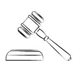 Vector illustration of court hammer in contours Royalty Free Stock Photography