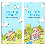 Vector Illustration for Cover Design. Funny Village in Doodle Style Royalty Free Stock Images