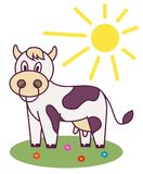 Cow in the meadow vector illustration
