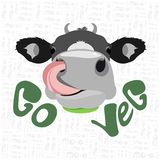 Vector illustration of a cow with text go veg. Vector illustration of a cow`s head with tongue on a white background with lettering and text go vegetarian Stock Images