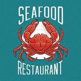 Vector illustration of crab in vintage style. Vector illustration of crab on a plate in vintage style. Seafood Restaurant logo or emblem template Royalty Free Stock Photos