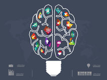 Vector illustration of Creative brain Idea. On dark background Royalty Free Stock Photo