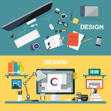 Vector illustration of creative design office workspace, designer workplace. Top view of desk background with digital