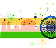 Vector illustration. Creative Indian National Flag colour background with Ashoka Wheel. 15 th of August for Happy Independence Day. Of India celebration Royalty Free Stock Image