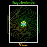 Vector illustration. Creative Indian National Flag colour background with Ashoka Wheel. 15 th of August for Happy Independence Day. Of India celebration stock illustration