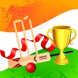 Cricket Kit with Trophy Stock Images