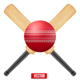 Vector illustration of cricket leather ball and Royalty Free Stock Image