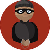 Vector Illustration of the Criminal in Handcuffs. Royalty Free Stock Photos