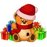 Vector illustration of a cristmas teddy bear. Vector illustration of a cristmas teddy bear on isolated white background Royalty Free Stock Photography