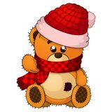 Vector illustration of a cristmas teddy bear. On isolated wite background Stock Images
