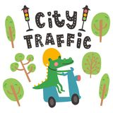 Crocodile in the cite. Vector illustration, crocodile riding a motobike, cute trees and city traffic hand lettering text stock illustration