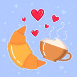 Vector illustration of croissant, coffee cup and red hearts Royalty Free Stock Image