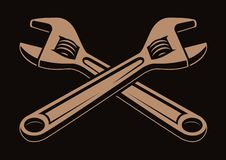 Vector illustration of crossed wrenches on a dark background royalty free illustration