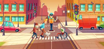 Vector illustration of crossing guard adjusting transport moving, city crossroads with pedestrians, disabled people. Urban highway regulation, crosswalk with Stock Images