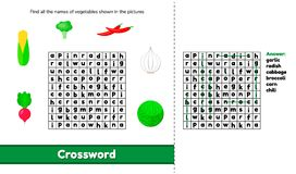 Vector illustration. Crossword. Puzzle game with words for presc Royalty Free Stock Photo