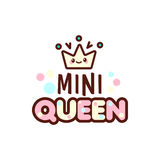 The vector illustration of crown and mini queen text with stylish kawaii emoji. Vector style girls gift emoticons for Stock Photos