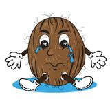 Vector Illustration of Crying Coconut Royalty Free Stock Image