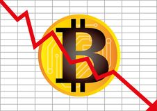 Vector illustration of cryptocurrency bitcoin bankrupt and insol Royalty Free Stock Photos