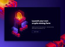 Vector illustration of cryptocurrency mining farm, big data processing for bitcoin, blockchain isometric concept vector illustration