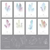 Vector illustration of crystals and polygons cards, calendar pages Royalty Free Stock Image