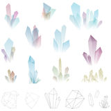 Vector illustration of crystals and polygons Stock Photo